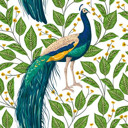 Ilustración de Seamless pattern with peacock, flowers and leaves. Vintage hand drawn vector illustration in watercolor style - Imagen libre de derechos
