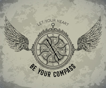 Typography poster with vintage compass and wings. Inspirational quote. Let your heart be your compass. Concept design for t-shirt, print, card, tattoo. Vector illustration