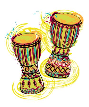 Ilustración de Drums tam tam with splashes in watercolor style. Colorful hand drawn vector illustration - Imagen libre de derechos
