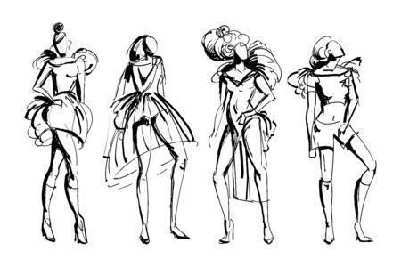 Illustration for Stylish fashion models set. Abstract stylized female figures. Ink grunge sketch style. Isolated objects on white background. Vector illustration - Royalty Free Image