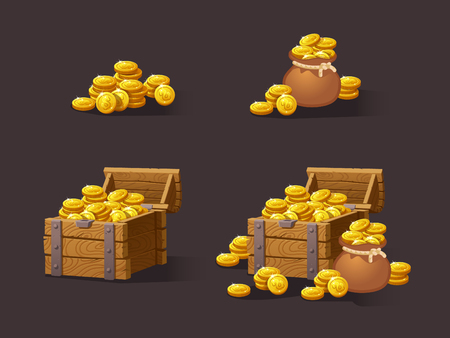 Illustration pour Wooden Chest set for game interface. Vector illustration. treasure of gold coins on dark background: closed, empty, chestes with golden coin.Icons cartoon coins for web. Stack,bag. - image libre de droit