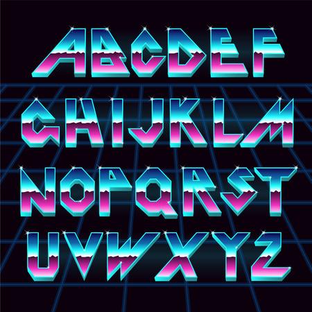 Illustration pour 80 s retro alphabet font. - image libre de droit