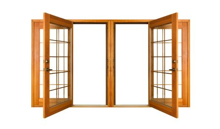 Open French doors isolated on white