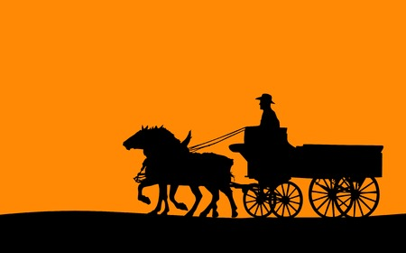 Horse and Cart Silhouette (Vector)