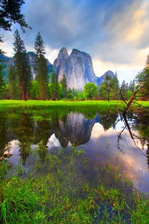 Yosemite's Cathedral Rocks reflecting at sunset.
