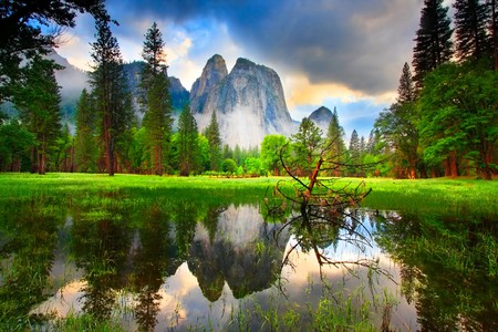 Sunset Reflections at Yosemite's Cathedral Rocks.