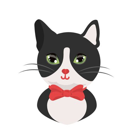 Illustration pour Cat tuxedo black and white cat gentleman with red bow. Kind cat head avatar , print. vector illustration isolated. - image libre de droit