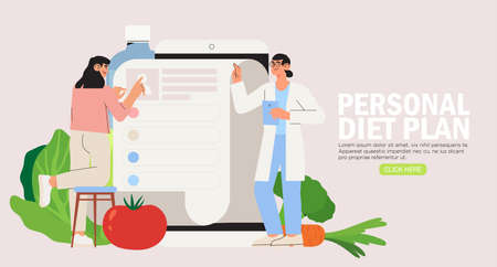 Illustration pour Online dietitian consultation. Concept of healthy eating, personal diet or nutrition plan from dieting expert or online nutrition course or marathon preparation. Can be used for social media banner. - image libre de droit