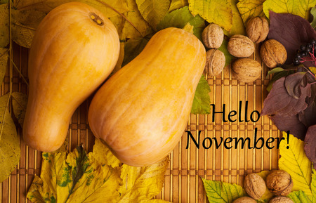 Words hello november on the rustic background with maple leaves, walnuts and two pumpkins