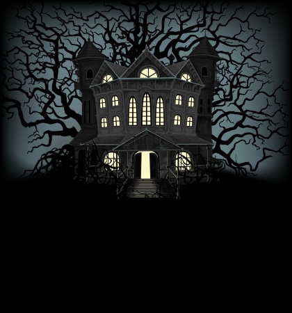Halloween background with haunted house and creepy trees