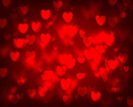 Abstract bokeh background with red hearts, Valentine day illustration