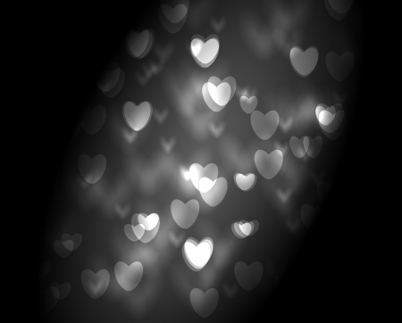 Abstract bokeh background with white hearts lights, Valentine day illustration