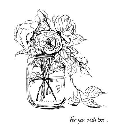 Illustration pour Bouquet of hand -drawn roses in glass jar - image libre de droit