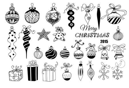 Illustration for Christmas baubles. Hand - drawn collection of Christmas decoration - baubles with bows, stars, snowflakes, teardrops, bells and gifts over white background. - Royalty Free Image