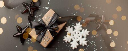 Photo pour Christmas minimalist and simple composition in mat black and silver color. - image libre de droit