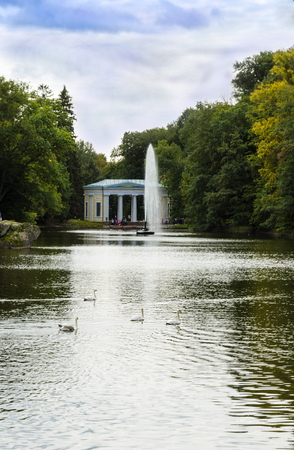 Photo pour fountain in the form of a snake in the water in the park - image libre de droit