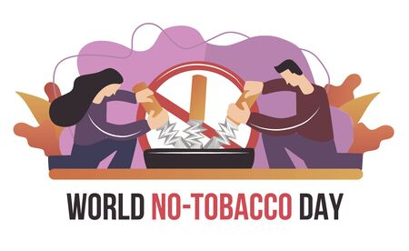 Man And Woman Holding A Breaking Cigarette For World No Tobacco Day Poster Web Banner Template Stop Smoking No Smoking Vector Flat Illustration Concept Break Up Sigarette Smoke Be Healthy Royalty Free Vector