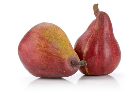 Photo pour Group of two whole glossy fresh dark red pear anjou isolated on white background - image libre de droit