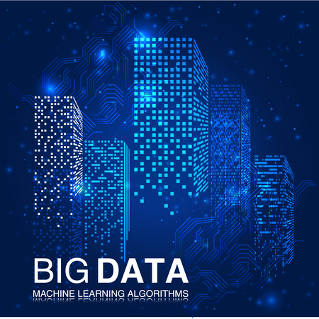 Illustration pour BIG DATA Machine Learning Algorithms. Analysis of Information Minimalistic Infographics Design. Science Technology Background. Complex Visual Data Background. Abstract Data Graph.Vector Illustration. - image libre de droit