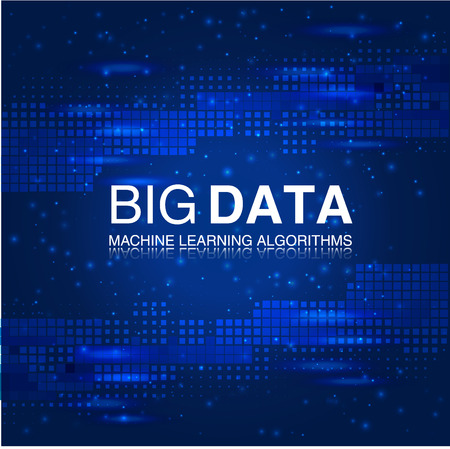 BIG DATA Machine Learning Algorithms. Analysis Science or Technology Background. Vector Illustration.