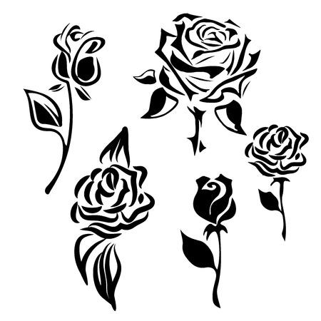 Ilustración de Flower icon. Set of decorative rose silhouettes isolated on a white background.. Vector rose - Imagen libre de derechos
