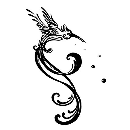 Ilustración de vector clipart bird hummingbird isolate on white background. Monochrome illustration in sketch style. - Imagen libre de derechos