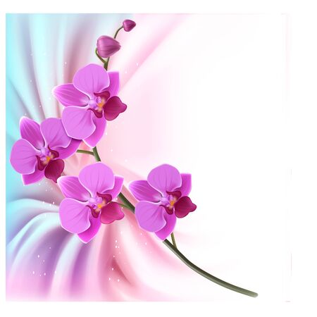 Illustration pour Orchid Branch,Vector Design. card, Creative style 3d. Design of holiday greeting card or banner. EPS 10 - image libre de droit