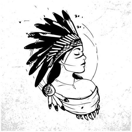 Illustration for Young woman in costume of American Indian. Silhouette of beautiful Indian women - Royalty Free Image
