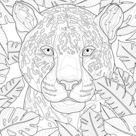 Illustration pour Leopard among tropical leaves. Animal.Coloring book antistress for children and adults. Illustration isolated on white background.Black and white drawing.Zen-tangle style. - image libre de droit