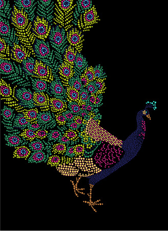 Hand made portrait of peacock with beautiful big tail. Colorful rhinestone pattern. Diamond and crystal picture of bird on black backdrop. Good for print design, advertisement, packaging, book or magazine illustration.