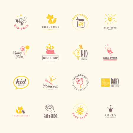 Vector collection of baby logo  Kids fashion label design