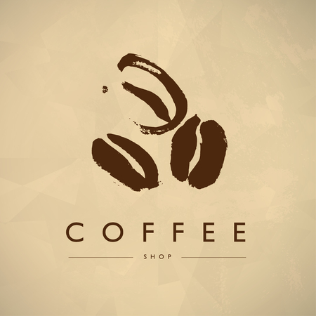 5f19a0384a4 Vector vintage coffee shop emblem design isolated. Coffee store label  insignia template. Coffee bean