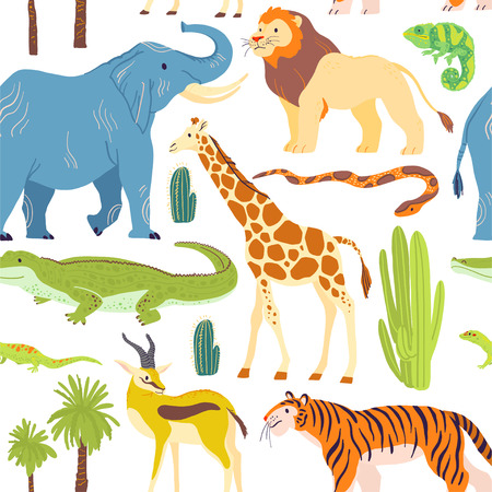 Vector flat seamless pattern with hand drawn desert animals, reptiles, palm trees, cactus isolated on white background. Good for packaging paper, cards, wallpapers, gift tags, nursery decor etc.