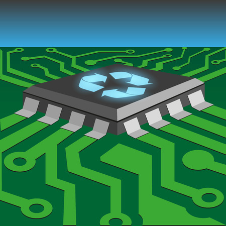recycle concept by integrated circuit on printed circuit board