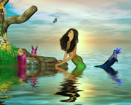 Mermaid surrounded by fairys in the ocean