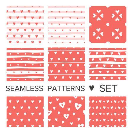Illustration for Coral pink hearts seamless pattern set. Vector doodle illustration - Royalty Free Image