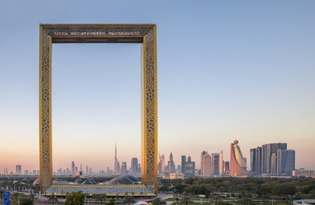Photo for Dubai, United Arab Emirates, January 13th, 2018: Dubai Frame building at sunrise - Royalty Free Image
