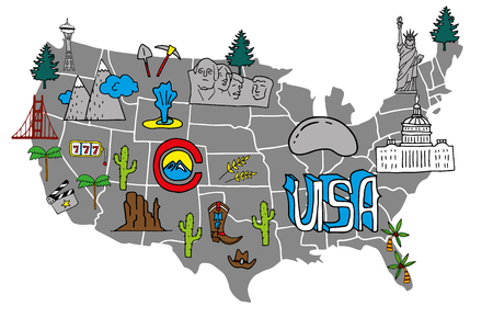Illustrated USA map - hand drawn elements with symbols of tourist ...