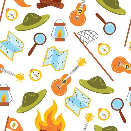 Illustration pour Seamless camping pattern - image libre de droit