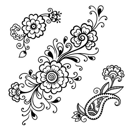Illustration pour Henna tattoo flower template.Mehndi. - image libre de droit