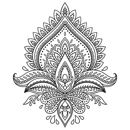 Illustration pour Henna tattoo flower template in Indian style. Ethnic floral paisley - Lotus. Mehndi style. - image libre de droit