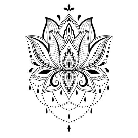 Illustration pour Henna tattoo flower template in Indian style. Ethnic floral paisley - Lotus. Mehndi style. Ornamental pattern in the oriental style. - image libre de droit