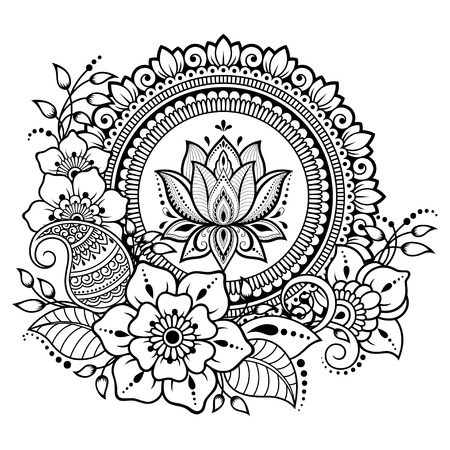 Photo pour Circular pattern in form of mandala with lotus flower for Henna, Mehndi, tattoo, decoration. Decorative ornament in ethnic oriental style. Coloring book page. - image libre de droit