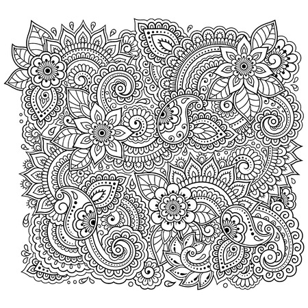 Ilustración de Outline floral pattern for coloring book page. Antistress for adults and children. Doodle ornament in black and white. Hand draw vector illustration. - Imagen libre de derechos
