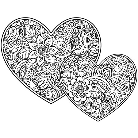 Illustration pour Mehndi flower pattern in form of heart for Henna drawing and tattoo. Decoration in ethnic oriental, Indian style. Valentine's day greetings. Coloring book page. - image libre de droit