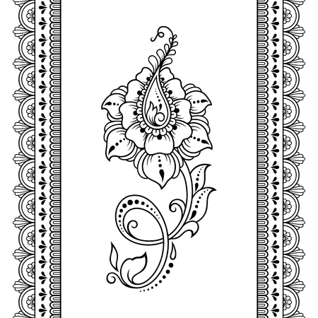 Illustration pour Set of Mehndi flower pattern and seamless border for Henna drawing and tattoo. Decoration in oriental, Indian style. - image libre de droit