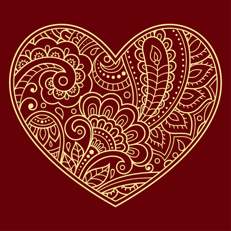 Illustration pour Stylized for mehndi flower colored pattern in form of heart. Decoration in ethnic oriental, Indian style. Valentine's day greetings. - image libre de droit