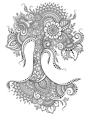 Illustration pour Mehndi flower pattern in form of tree for Henna drawing and tattoo. Decoration in ethnic oriental, Indian style. - image libre de droit