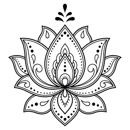 Illustration pour Mehndi Lotus flower pattern for Henna drawing and tattoo. Decoration in ethnic oriental, Indian style. - image libre de droit