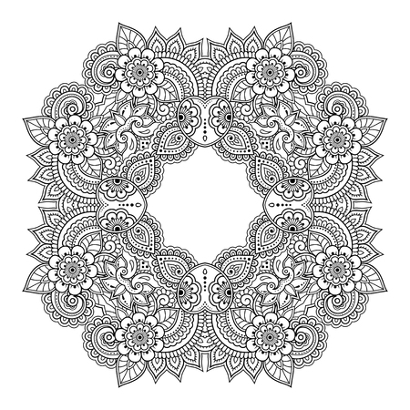 Illustration pour Circular pattern in form of mandala with flower for Henna, Mehndi, tattoo, decoration. Decorative ornament in ethnic oriental style. - image libre de droit